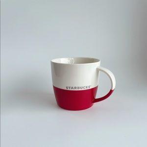 2011 Starbucks Red & White Silver Coffee Mug 16 0z